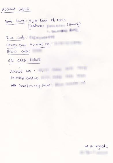 Scanned Letter Copy Write Sbi Credit Card Mention Sample Uva