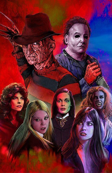 $20+ 3 SIZES Freddy Michael Scream Queens art poster print by Scott Jackson Freddy Krueger Michael Myers horror movie slasher poster