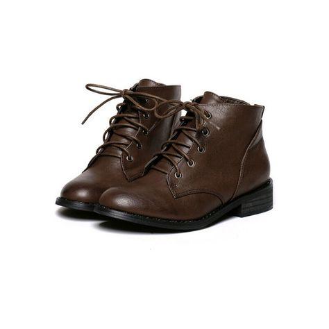 2775654698 SheIn(sheinside) Brown Fashion Chunky Heel PU Boots (2.980 RUB) ❤ liked