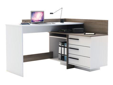 Bureau avec retour tiroirs thales coloris chêne brossé blanc