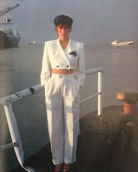 Jean-Noel L'Harmeroult #photograph for the Les Vedettes de la Marine #fashioneditorial in the spring/summer #1983 issue of Marie Claire Bis…
