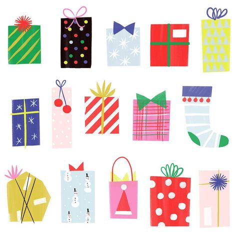 Here's a detailed look at our 'Joyful Presents' card! Gift wrapping always gets us in the holiday spirit!