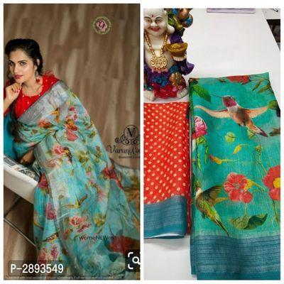 Original Linen Digital Print saree and blouse for women,saree,saree for women,wedding saree,indian saree,traditional saree,sari,saris
