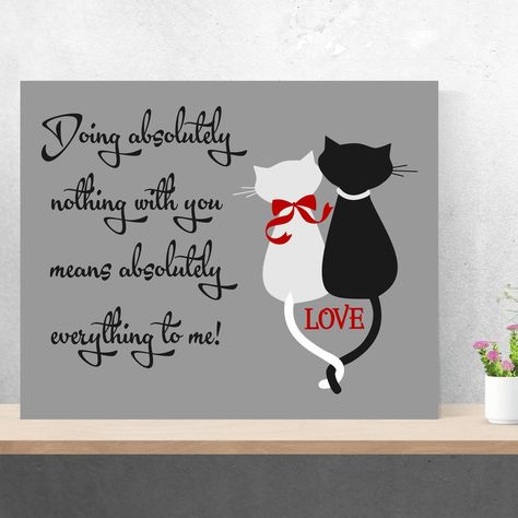 Loving Cats Silhouette Painting | Hand Painted Canvas | Wall Decor