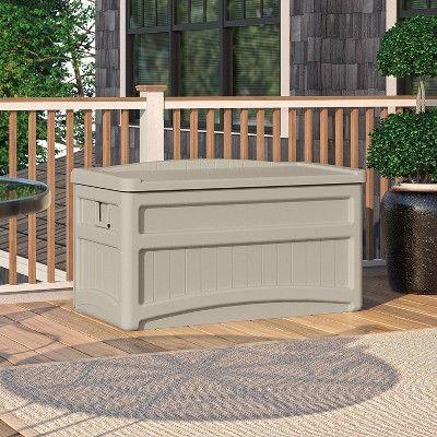 Suncast 73 Gallon Resin Outdoor Patio Storage Deck Box With Seat 2 Pack Outdoor Deck Box Deck Box Storage Patio Storage