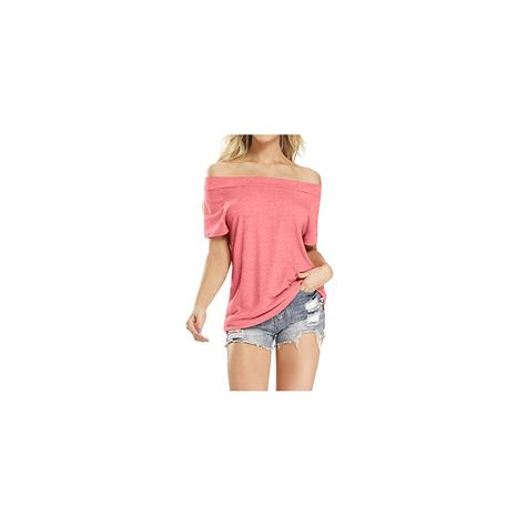osazic Womens Off The Shoulder /& One Shoulder Tops Summer Casual Solid Short Sleeve Loose T Shirts S-2XL