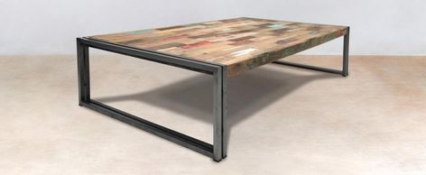 Table Basse Rectangle Bois Recycle 140x80 Caravelle Table Basse Rectangulaire Table Basse Idees De Decoration Interieure