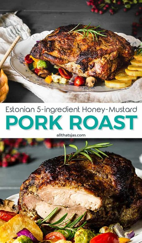 This Estonian recipe for Honey Mustard Pork Roast is traditionally served for Christmas and it's perfect for when you need something simple and easy to prepare. | allthatsjas.com | #pork #roast #Christmasdinner #holidaymeal #easy #honey #mustard #garlic #rosemary #porkbutt #ovenroasted #allthatsjas #recipes #familymeal #glutenfree #dairyfree #paleo #keto