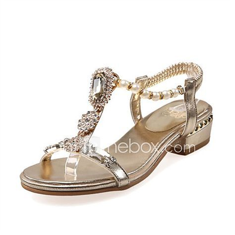 Womens Sandals Spring Summer Fall Club Shoes Novelty Customized Materials  Glitter Casual Dress Low Heel Buckle Gold Sliver  Club shoes       Sandals and  Spring