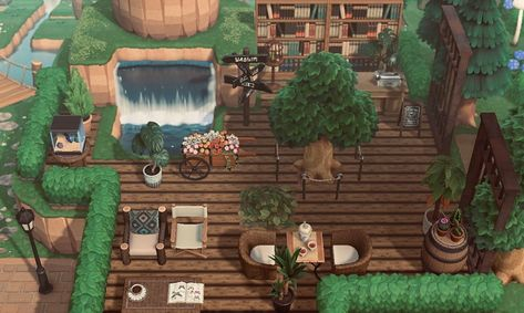 I mean this natural cafe is everything. I would love to start my day with a sip of coffee here. Reminds of treehouse I always wanted as a… Animal Crossing Cafe, Animal Crossing Qr Codes Clothes, Outdoor Cafe, Outdoor Spa, Floating Stairs, Animal Games, Island Design, New Leaf, Foto E Video