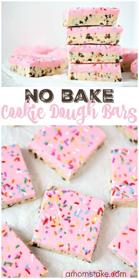 So delicious, these no bake cookie dough bars are easy to make and no baking req. So delicious, these no bake cookie dough bars are easy to make and no baking required! You& love this easy cookie bar dessert with sprinkles! Dessert Simple, Simple Dessert Recipes, Easy Desert Recipes, Dessert Recipe Video, Easy Dessert Bars, Valentine Desserts, Köstliche Desserts, Healthy Desserts, Birthday Desserts