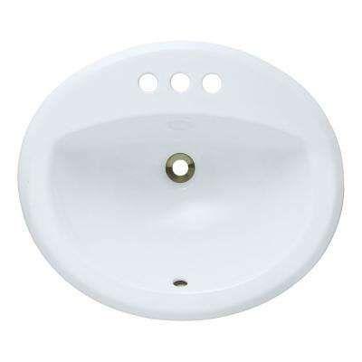 Overmount Porcelain Bathroom Sink In White Drop In Bathroom