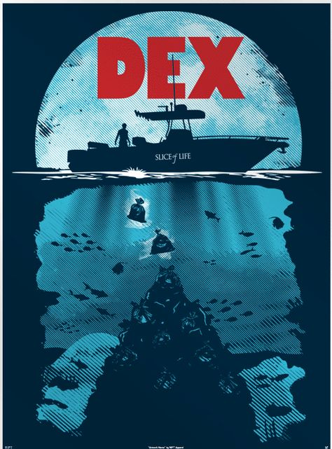 This awesome Dexter poster from designer Olipop is titled – Dex. This poster is a mashup of the hit TV show Dexter and the iconic visual poster from one of the original shark movies – Jaws.  via: http://www.postervine.com/dex-dexter-and-jaws-poster/