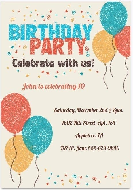 Birthday Invitation Template Pinterest Com Free Birthday Invitation Templates Printable Birthday Invitations Birthday Party Invitations Printable