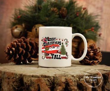 Merry Christmas Y All Mug Christmas Mug Christmas Mugs Vintage Cowgirl Mugs