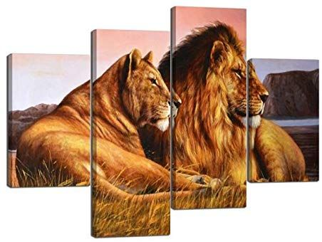 Amazon Com 4 Panels Modern Lion Art For Wall Lioness And Lion On The Prairie Picture Prints On Canvas Giclee Art Lion Pictures Lion Canvas Wall Decor Pictures