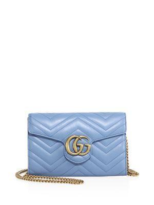 fa247d16eb3e7 GUCCI GG Marmont Matelassé Leather Chain Wallet.  gucci  wallet