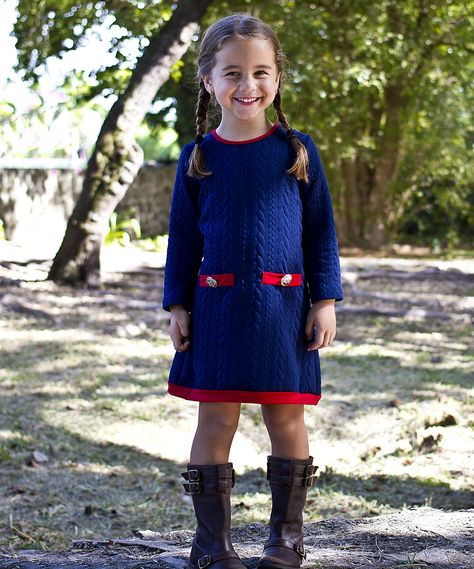363d09586f15 Navy   Red Cable-Knit Sweater Dress