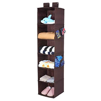 Magicfly Hanging Closet Organizer With 4 Side Pockets 6 Shelf Collapsible Closet Hanging Shelf For Sweater Handbag Storage Easy M Top 100 Closet In 2019