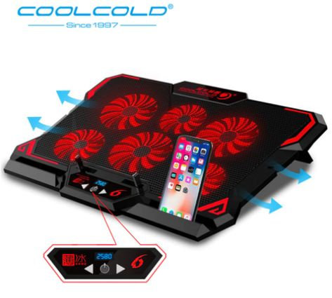 Laptop Cooling Pad 6 Silent Blue Led Powerful Air Flow Portable