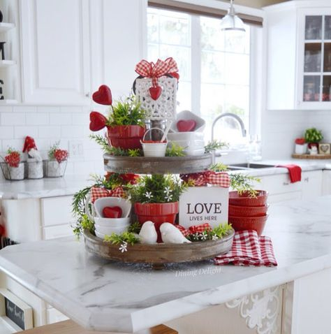I've finally managed to do a bit of decorating for Valentine's Day around here which I'll be showing you in some upcoming posts. Vintage Valentines, Valentine Crafts, Valentine Ideas, Valentine Wreath, Valentines Day Decorations, Valentine Table Decor, Tiered Stand, Christmas Candles, Tray Decor