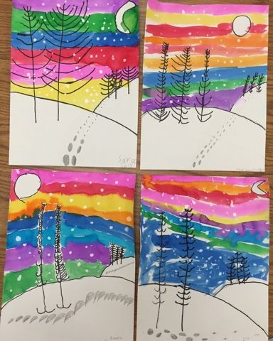 Winter landscapes by 1st grade - one day project (Mrs. Knight's Smartest Artists)