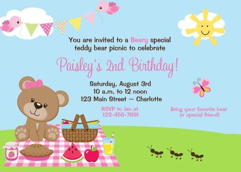 teddy bear picnic birthday party invitation teddy bear picnic