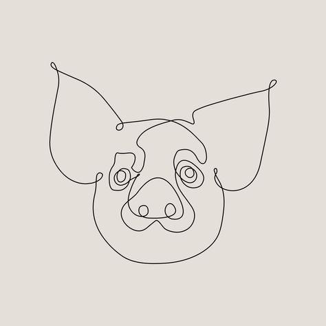 One Line Pig Art Print