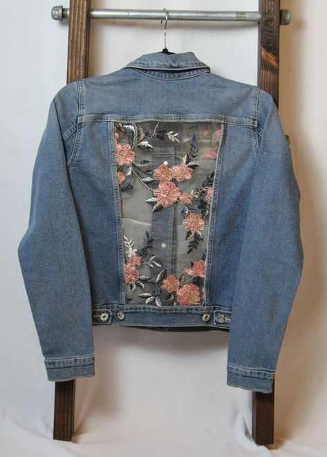 XS, L Denim jacket w/ sparkly, pink lace, made to order, lace paneled jacket, jean jacket, upcycled