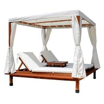 Salley Double K D Daybed With Canopy And Cushion Teak Chaise Lounge Outdoor Chaise Lounge Outdoor Chaise Lounge Chair