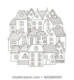 Circle Shape Pattern With Houses For Coloring Book Black And White Background Vector Illustration Boyama Sayfalari Boyama Sayfalari Mandala Boyama Kitaplari
