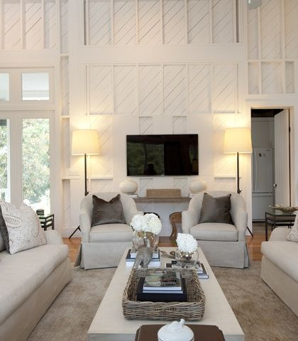 2 Story Living Room Diagonal Wainscot