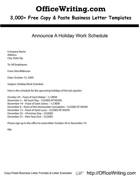 Announce A Holiday Work Schedule -- We have over 3,000 free sample - holiday letter