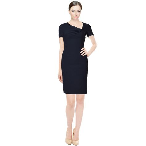 Rene Ruiz Navy Blue Asymmetric Neckline Short Sleeve Cocktail Dress -  Overstock Shopping - Top Rated Evening   Formal Dresses 08aadeded