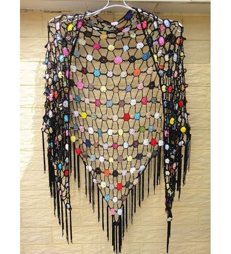 Scarves & Wraps, Wraps & Pashminas, Crochet Shawl Scarf with Fringe Multi Wear Tops CH11VYFHDQV   #Scarves #Wraps  #Style #fashion #outfits #Wraps & Pashminas