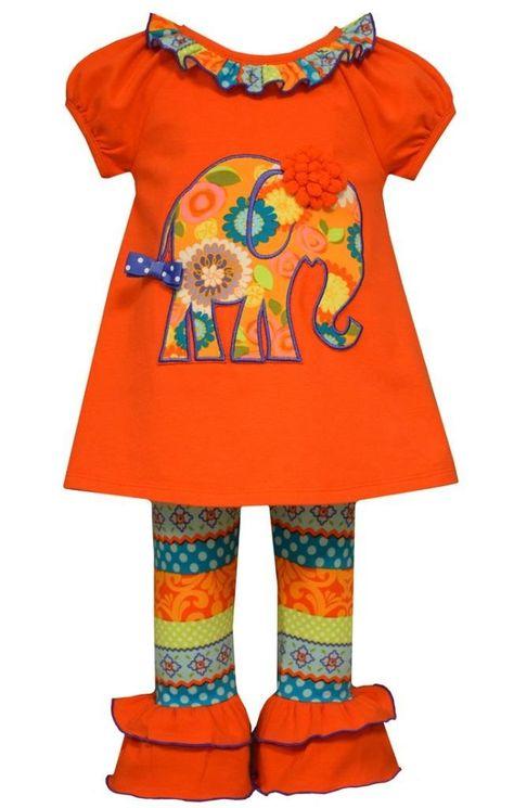 Bonnie Jean Girls Elephant Appliqued Knit Legging Set