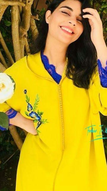 إطلالات جذابة باللون الأصفر من جلابة المغربية الاصيلة ستجعله من أهم ألوان ملابسك الصيفية Caftan Gallery Fashion Abaya Fashion Traditional Outfits