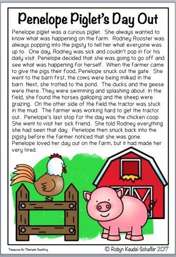 Farm Animals Reading Comprehension Passages And Questions Reading Comprehension Passages Reading Comprehension Reading Themes