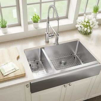 36 L X 21 W Double Basin Farmhouse Apron Kitchen Sink With Grid Set Apron Front Kitchen Sink Farmhouse Sink Kitchen Farmhouse Apron Kitchen Sinks