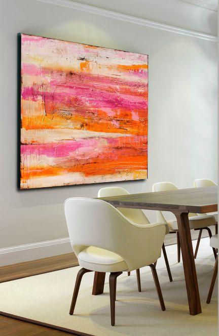 Giant Colorful abstract Painting por erinashleyart en Etsy