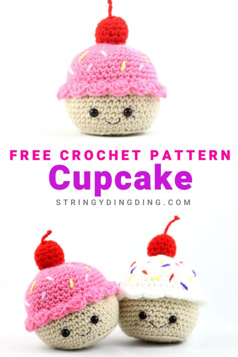 Crochet a cute and easy cupcake with this free amigurumi pattern! Visit my site to make it now. Make a cute and easy cupcake with this free pattern! Visit our site to make it now. Cupcake Crochet, Crochet Food, Cupcake Cupcake, Crochet Kawaii, Cute Crochet, Crotchet, Crochet Amigurumi Free Patterns, Crochet Dolls, Crochet Cats