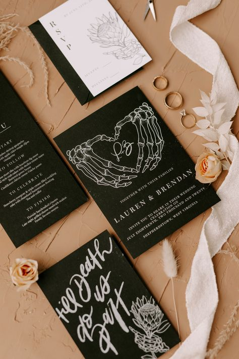 #sponsored For the rock n roll couple, shop Tortise Designs here. #wedding #rocknrollbride #tildeath #weddingideas #weddingplanning #savethedate #funwedding