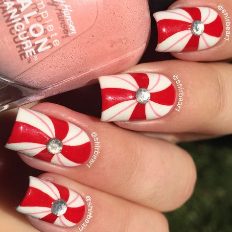 Peppermint Swirls nail art, for more nail arts follow me on instagram and subscribe to my youtube channel at @shirbear1