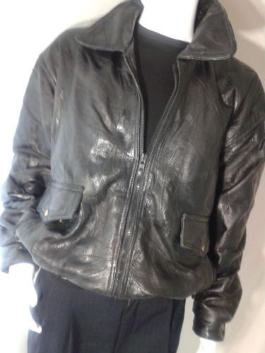 117071a8c Maxam-Genuine-Leather-Lambskin-Bomber-Jacket-Mens-XL-Patchwork-Black ...