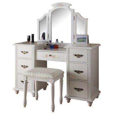 Acme Torian Vanity Desk Stool White Walmart Com Vanity Desk Bedroom Makeup Vanity Bedroom Vanity