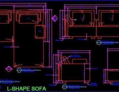 Corner L Shape Sofa With Cushions Working Dwg Drawing L Shaped Sofa Sofa Layout Wall Wardrobe Design