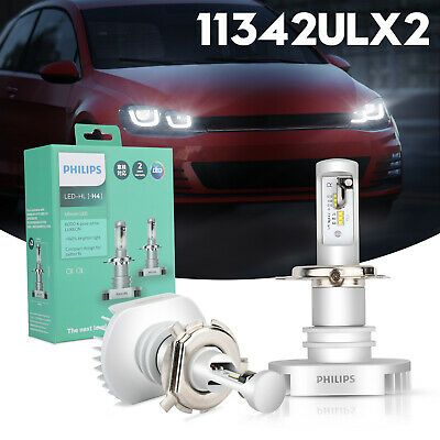 Ad Ebay Philips Ultinon Led H4 6000k Pure White Headlight Bulbs