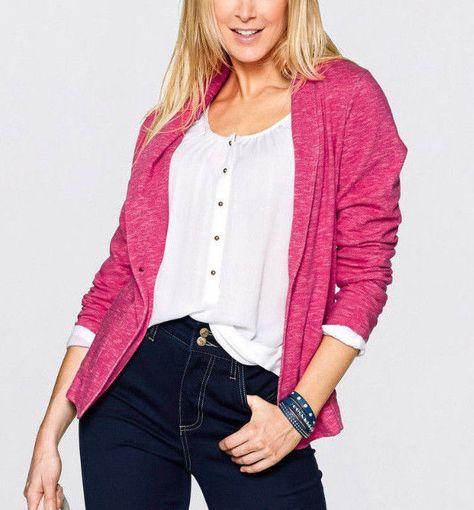 Damen Sweatblazer Pink Weiss meliert Neu Gr.44 in Kleidung