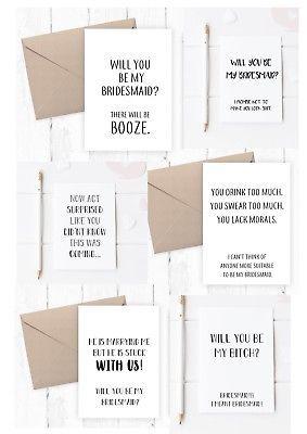 Funny Bridesmaid Cards 7 varieties