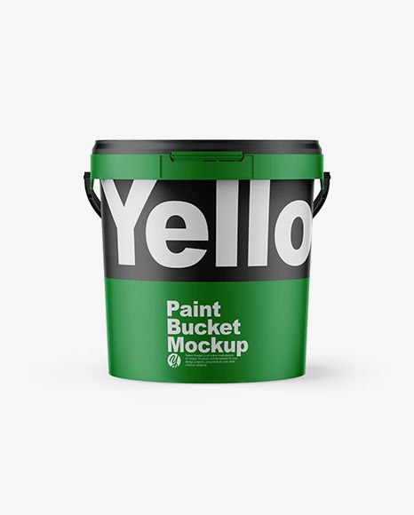 Matte Paint Bucket Mockup Front View In Bucket Pail Mockups On Yellow Images Object Mockups Psd Mockup Template Mockup Free Psd Mockup Free Download
